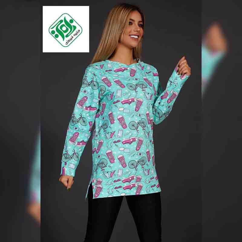 خرید و قیمت تی شرت زنانه بلند طرحدار کد 2212