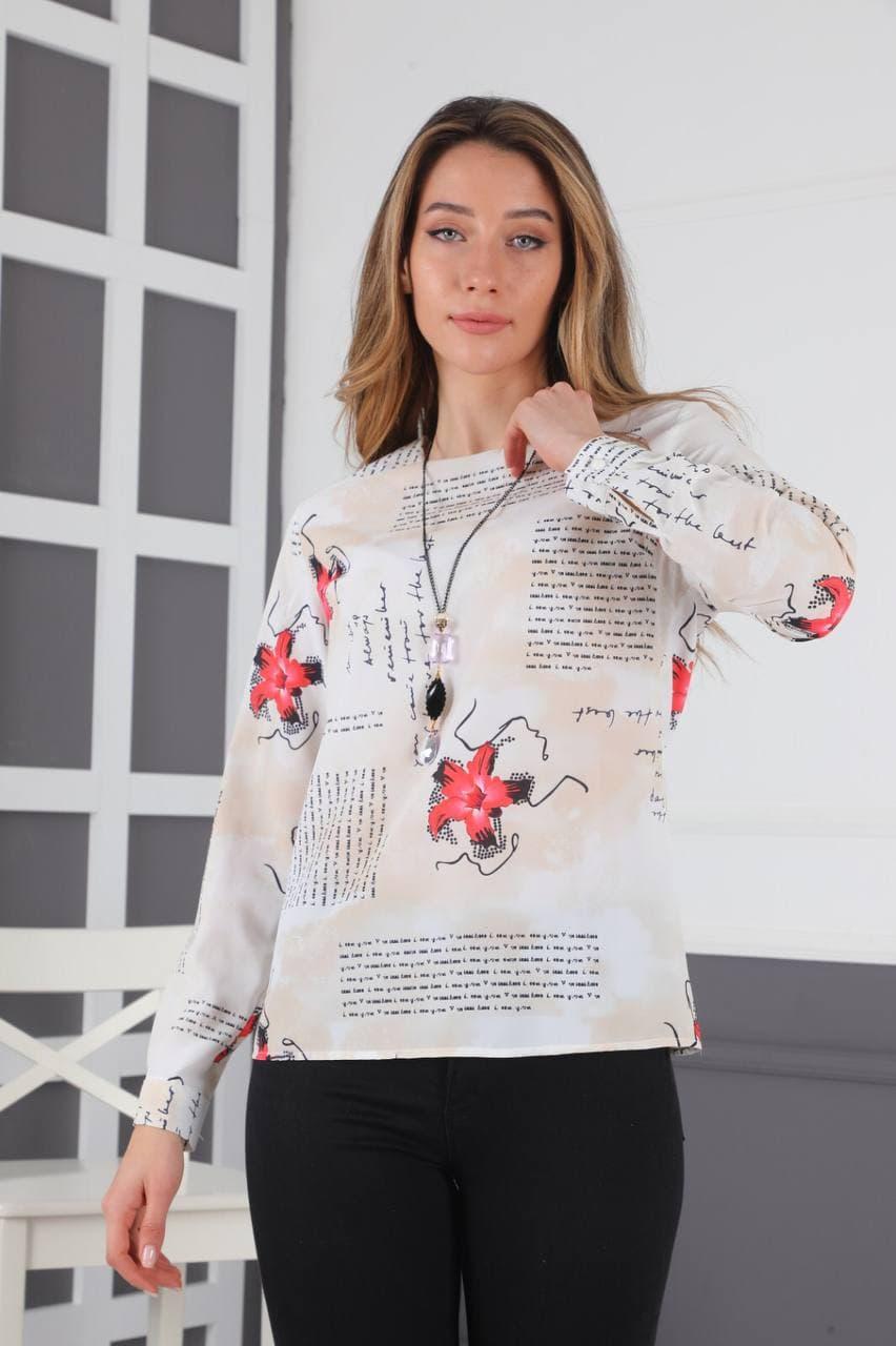 مدل شومیز زنانه شیک سفید گلدار