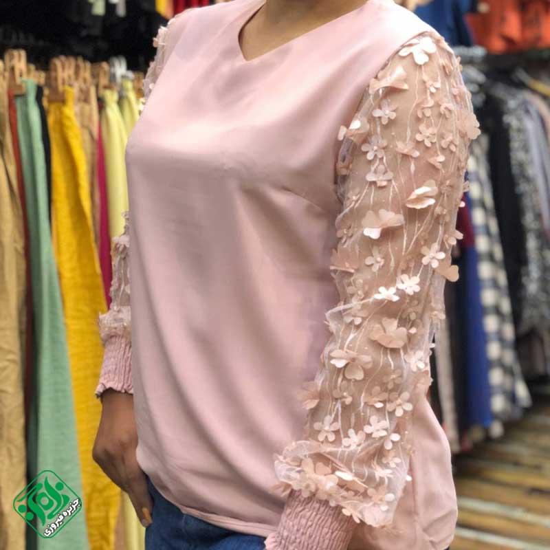 شومیز زنانه مدل آستین شکوفه دار در جزیره فیروزی